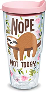 Tervis Sloth Nope Not Today Insulated Tumbler with Wrap and Pink Lid, 24 oz, Clear