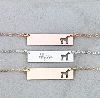 Personalized Horse BAR Necklace - IBD - Layering Charm - Custom Name Date - 935 Sterling Silver 14K Rose Gold Filled