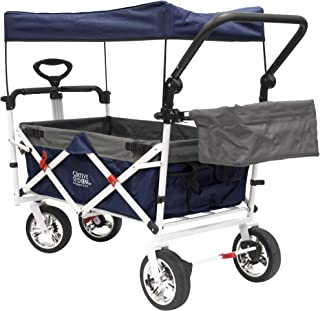 Creative Outdoor Push Pull Collapsible Folding Wagon Stroller Cart for Kids | Sun & Rain Shade | Beach Park Camping Tailgate & Garden | Navy