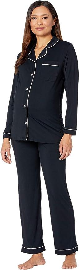 Clea Bamboo Long Sleeve Classic Maternity & Nursing Pajama Set