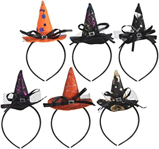 KATOOM 6 PCS Deguisement halloween femme Chapeau de sorcière pour enfants fille Halloween Bandeau Chapeau de Sorcière Arai...