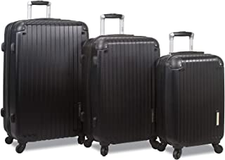 Prism 3-Piece Hardside Spinner Combination Lock Luggage Set-Black