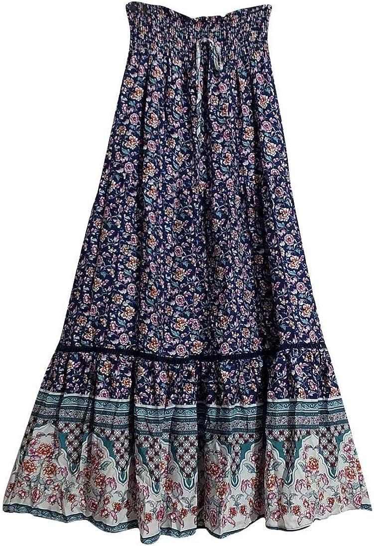Floral Skirts for Women Print High Waist Elastic Long Pleated Skirt