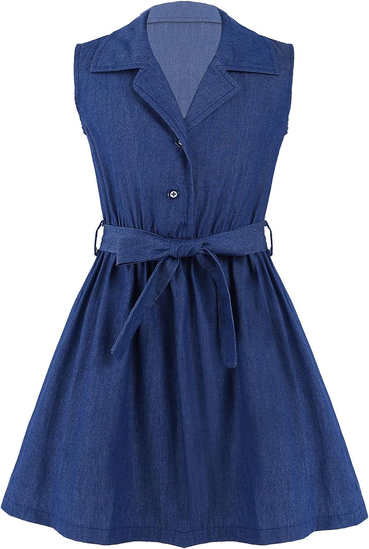 FEESHOW Big Girls Kids Denim Dress Youth Casual Cotton Sleeveless Skirt Sundresses with Waist Belt for School Playwear