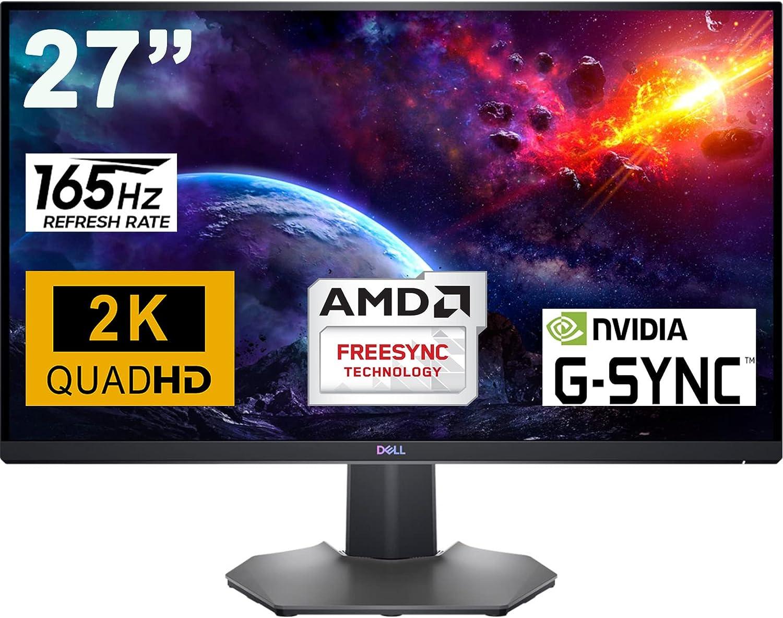 "Dell 27 Gaming Monitor 27"" 2K QHD (2560 x 1440) Up to 165Hz Refresh Rate IPS Panel 1ms GTG 16:9 400 cd/m² Brightness 1.07 Billion Colors AMD FreeSync Premium Pro NVIDIA G-SYNC DisplayPort HDMI"