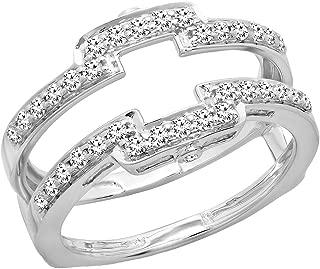 Dazzlingrock Collection 0.50 Carat (ctw) 14K Gold Round Cut Diamond Ladies Anniversary Wedding Enhancer Guard Double Band 1/2 CT