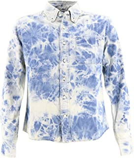 [SWEEP!! LosAngeles スウィープ ロサンゼルス] メンズ デニム タイダイ染め ボタンダウンシャツ DENIM STRETCH BLEACH(ブルー)