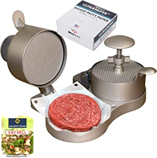 Weston Hamburger Press with Patty Ejector Bundle with UltraSource Patty Paper, 1000 Sheets| Non-Stick Mould Kit for making Stuffed Beef Burgers, BBQ Grilling| Bundle INCLUDES SALIENT HOME Cookbook