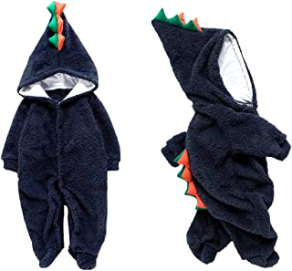 Unisex Baby Clothes Winter Coat Cute Dinosaur Hooded Romper Long Sleeve Footies Bodysuits Outfit