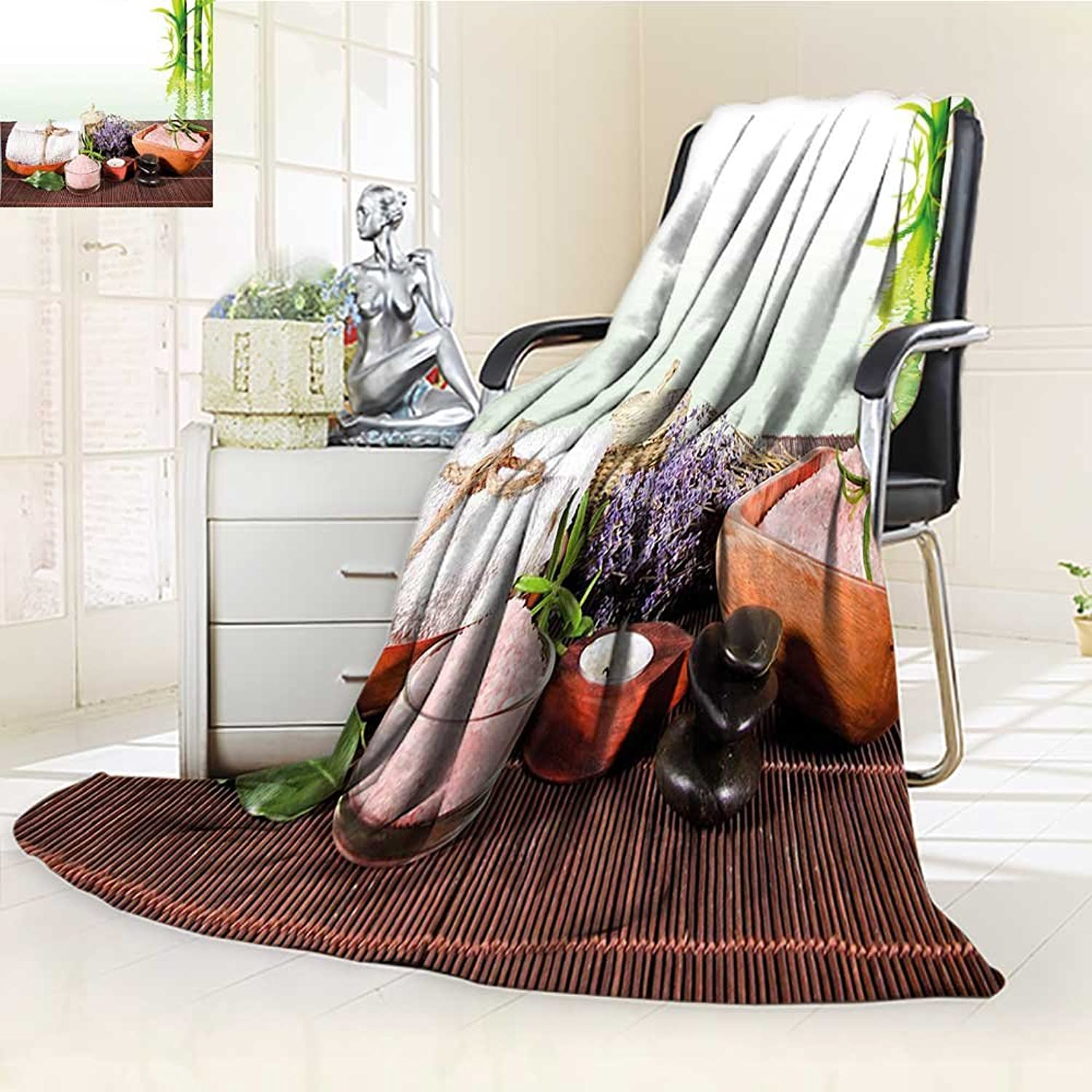 YOYI-HOME Digital Printing Duplex Printed Blanket with Towel Flowers Candle and Zen Hot Massage Stones Green White and Brown Summer Quilt Comforter  W59 x H39.5