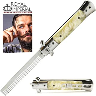 Royal Imperial Metal Switchblade Pocket Folding Flick Hair Comb For Beard or Mustache White Pearl Handle INCLUDES Beard Fact Wallet Booklet.