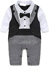 Baby Boy Suit Tuxedo Outfits Set,Toddler Gentlemen Rompers Formal Wear Onesie Jumpsuit Overall(0-24 Months)