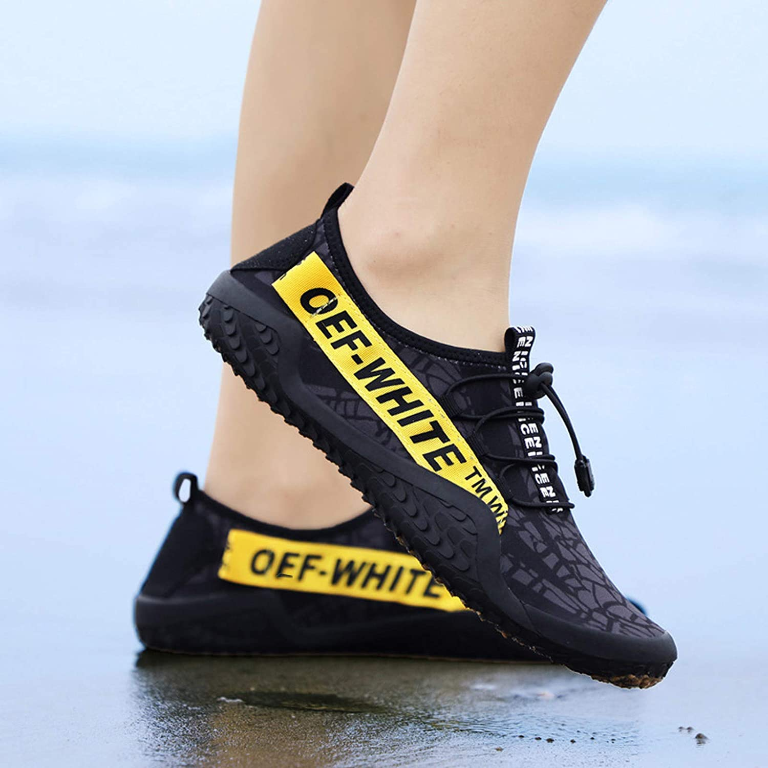 LFDD Pair of Beach Shoes Wading Water Flowing Shoes Yoga Fitness Shoes Skin-Tight Shoes Diving Swimming Shoes,Yellow,45