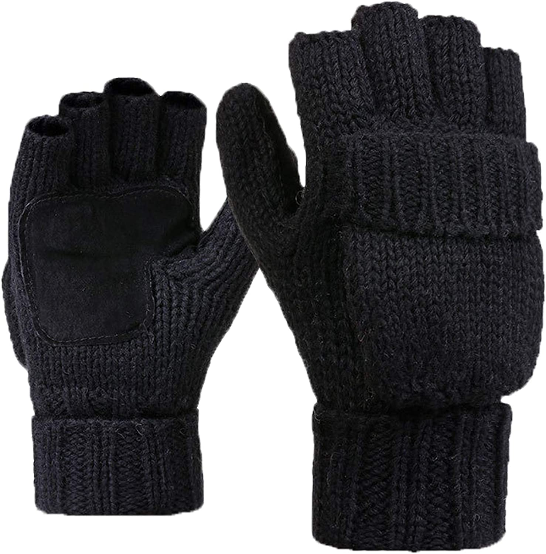 VOGUE CODE Winter Thick Gloves Unisex Warm Knitted Wool Gloves Mittens Fingerless Glove Half Finger Outdoor Gloves