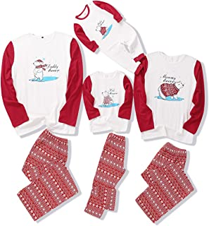 DERCLIVE Family Christmas Matching Clothes Dad Mom Kid Baby Nightwear Pajamas Set,Red + White