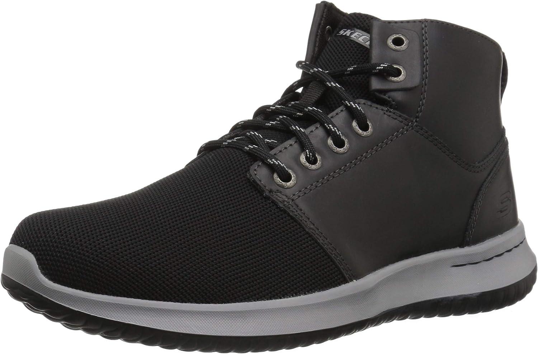 Skechers Men's DELSON- VELMO Ankle Boot, Black, 8.5 Medium US