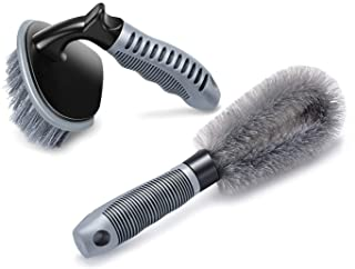 2 Pcs Steel and Alloy Wheel Cleaning Brush, Rim Cleaner for Your Car, Motorcycle or Bicycle Tire Brush Washing Tool