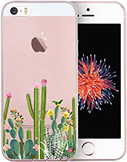 Unov Case Clear with Design Embossed Flower Pattern TPU Soft Bumper Shock Absorption Slim Protective Cover for iPhone SE iPhone 5s iPhone 5(Cactus Succulents)
