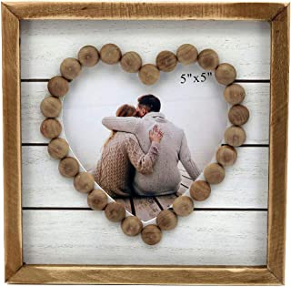 Paris Loft Wood Heart-Shaped Picture Frames|Cute Farmhouse Style Vintage Photo Frame with Wood Beads.