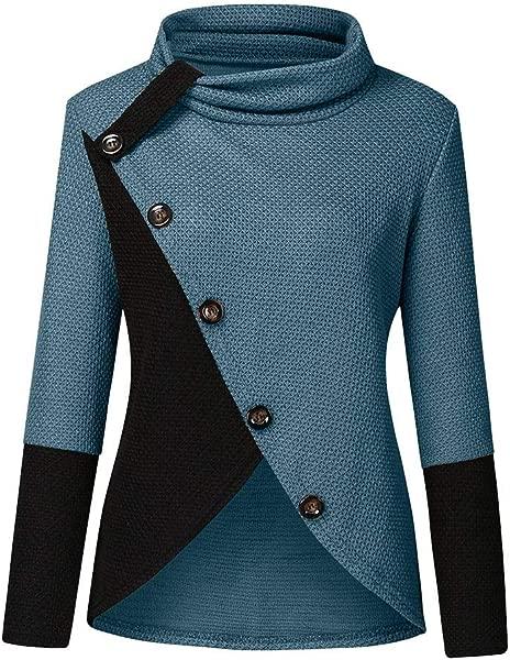 TIFENNY Short Sweatshirt For Women Patchwork Sweater Button Side Decor Long Sleeve Regular Hem Blouse Pullover Tops