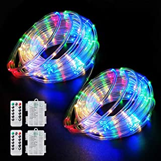 Aityvert LED Rope Lights Outdoor 39FT 120 LED String Lights 8 Modes Battery Operated Fairy Lights with Remote Timer, Decor...