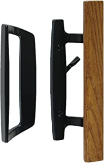 "Bali Nai Sliding Glass Door Handle Set with Oak Wood Pull in Black Finish, Standard 3-15/16"" CTC Screw Holes, 1-3/4"" Door Thickness"
