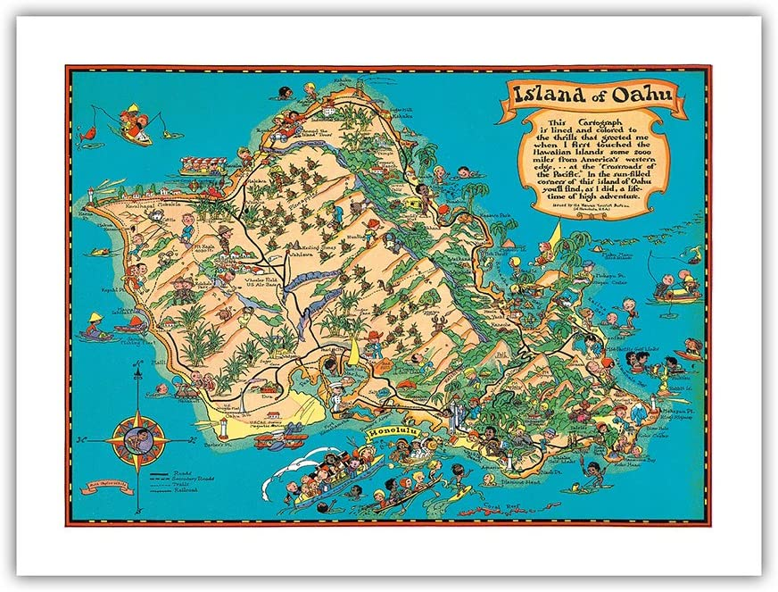 Hawaii USA - Island of Oahu Map Hawaiian Cart Vintage Animer and price revision Colored Fixed price for sale