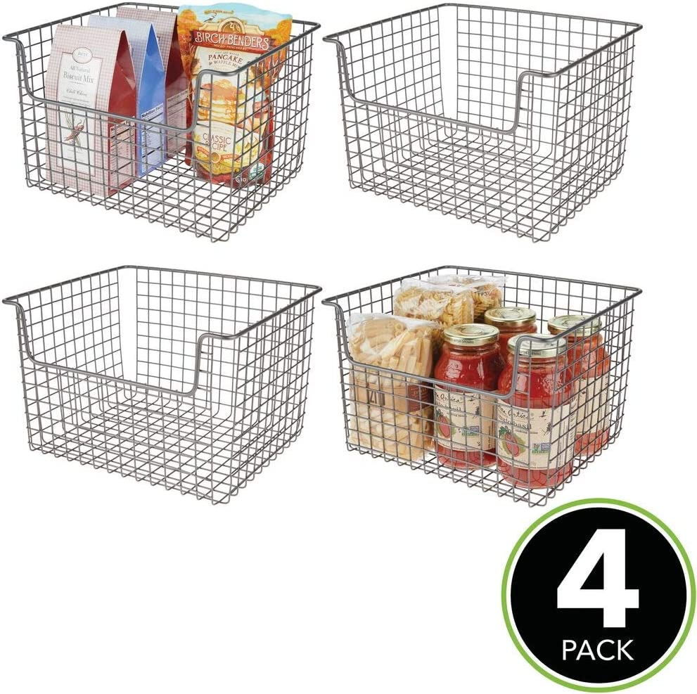 Buy Mdesign Metal Kitchen Pantry Food Storage Organizer Basket Farmhouse Grid Design With Open Front For Cabinets Cupboards Shelves Holds Potatoes Onions Fruit 12 Wide 4 Pack Graphite Gray Online In Turkey B07m7q4rwp