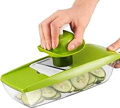 Mandolina para Comida Compacta 5 en 1 marca Twinzee – excelente para rebanar y triturar frutas y vegetales fina uniformemente en corto tiempo - trae unas afiladas cuchillas de corte intercambiables