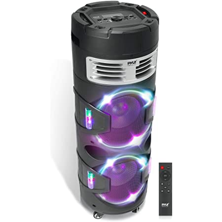 Portable Bluetooth PA Speaker System - 1200W Outdoor Bluetooth Speaker Portable PA System w/TWS Function, Microphone in, Flashing DJ Party Lights, USB Reader, FM Radio, Rolling Wheels - Pyle PBMSPG82