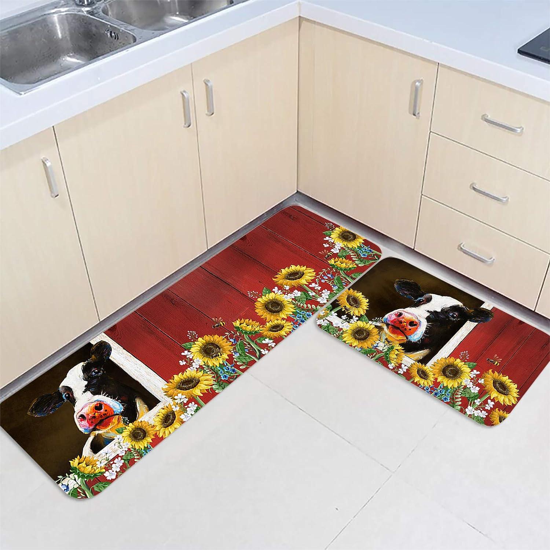 2 Pieces Kitchen Mats Max 40% OFF Floor Area Water OFFicial store Non-Slip Rug Set Doormat