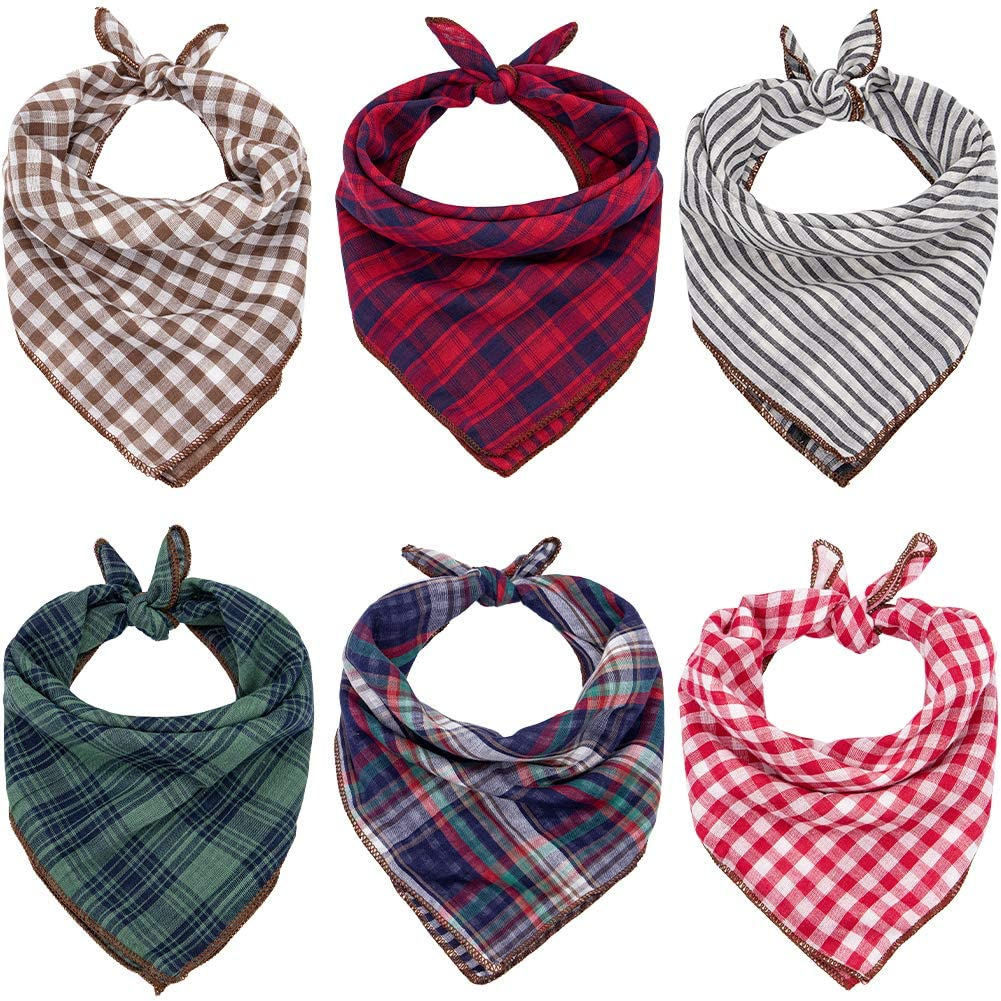 Dog Bandanas - 6PCS Birthday Gift Washable Green Black Brown Blue Red Square Plaid Printing Dog Bib Double Reversible Kerchief Scarf Adjustable Accessories for Small to Large Dog Puppy Cat
