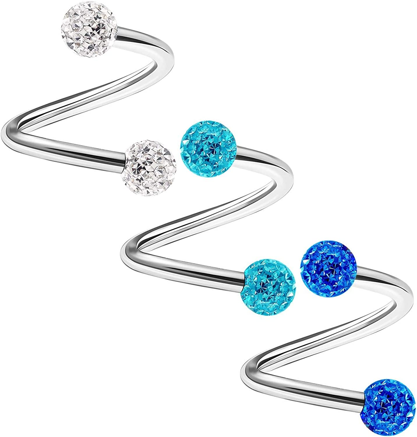 3PCS Stainless Max 83% OFF Steel Spiral Barbell Max 43% OFF 16 Sn Crystal Ball 3mm Gauge