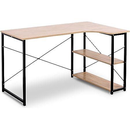 WOLTU TSB06hei Table d'ordinateur Table de Bureau Table de Travail en aggloméré et Acier,Environ 120x74x71,5 cm,12,8kg Noir+Nature