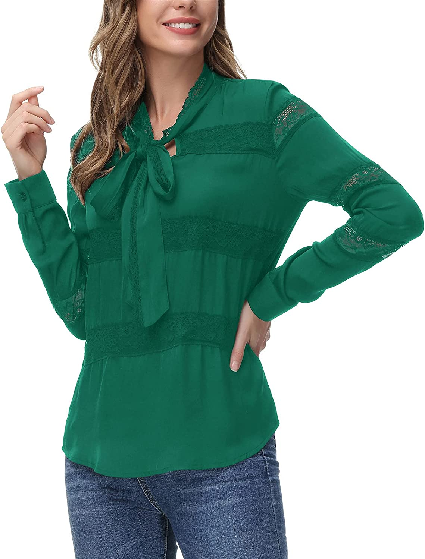 JASAMBAC Women's Elegant Max 52% OFF Bow New York Mall Tie Lace Long Chiffon Sleeve Trim B