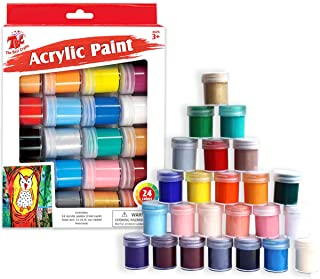 TBC The Best Crafts 24 Colors Acrylic Paint Jar Set, Vibrant Colors Acrylic Paint Set, Educational Grade Arts and Crafts Supplies, School Essentials, Ideal for Kids & Adults, Professionals & Beginners