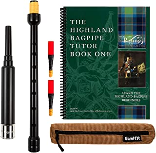 Barefoot Bagpipes Practice Chanter, The Piping Center of Scotland Tutor Book, Qty 2 Chanter Reeds and Breathable Case