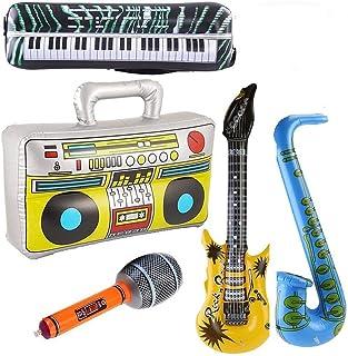 Yojoloin 5 UNIDS Inflables Guitarra Saxofón Micrófono Boom Box Instrumentos Musicales Accesorios para Fiesta Suministros Favores de Fiesta Globos Random Color (5 PCS)