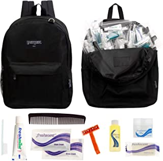 Bulk Case of 12 Backpacks and 12 Hygiene & Toiletries Kit - Wholesale Care Package - Disaster Relief Kit, Homeless, Charity