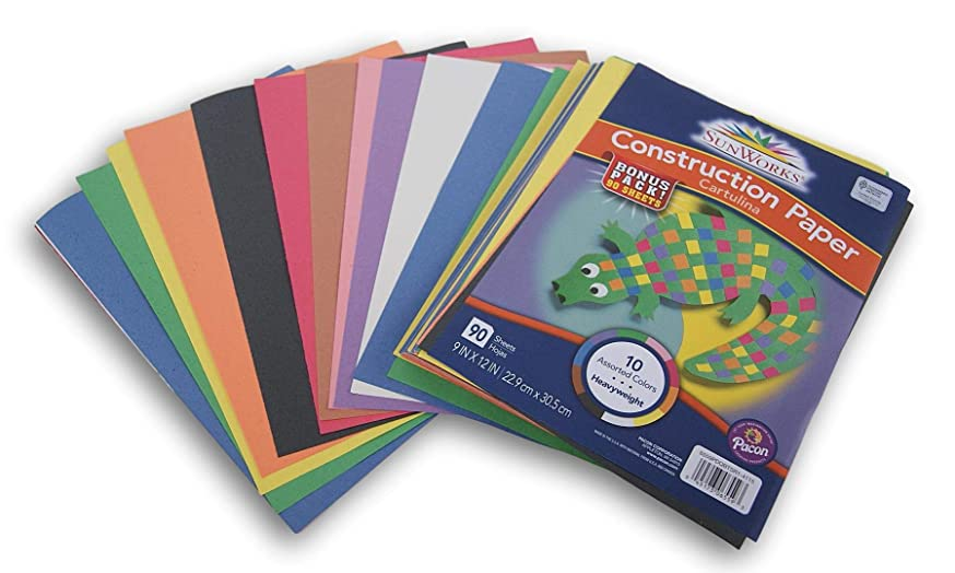 Arts and Crafts Jumbo Pack of Construction Paper - 10 Colors - 90 Sheets