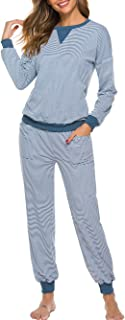 Voopptaw Pajamas for Women Striped Long Sleeve Pajama Set Loose Sleepwear Vintage Thermal Underwear Tops and Pants