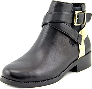 BCBGeneration Krew Women's Black Leather Ankle Booties Moto Gold Harness