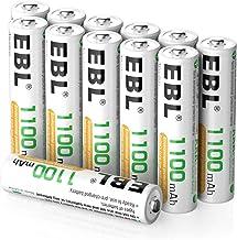 EBL 12PCS AAA Piles Rechargeables 1100mAh, Piles Rechargeables AAA LR03 1,2V Ni-MH Haute Capacité 1100mAh, avec Boîte de Stockage de Piles