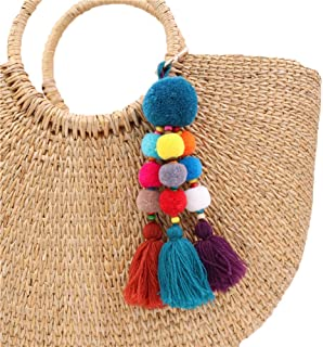 Colorful Pom Pom Tassel Bag Charm Key Rings Attractive Boho Handmade Personalized Straw Bag Bamboo Bag Pendant
