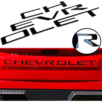 KENPENRI Tailgate Insert Letters for 2019 Chevrolet Silverado 3M Adhesive /& 3D Raised/ Tailgate Letters Gloss Black with Red Border