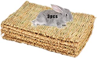 Best Grass Mat Woven Bed Mat for Small Animal Bunny Bedding Nest Chew Toy Bed Play Toy for Guinea Pig Parrot Rabbit Bunny Hamster Rat(Pack of 3) (3 Grass mats) Review