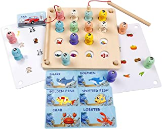 Wooden Magnetic Fishing Toy - Preschool Early Learning Montessori Educational Puzzle for Fine Motor Skill - Memory 3D Fish...