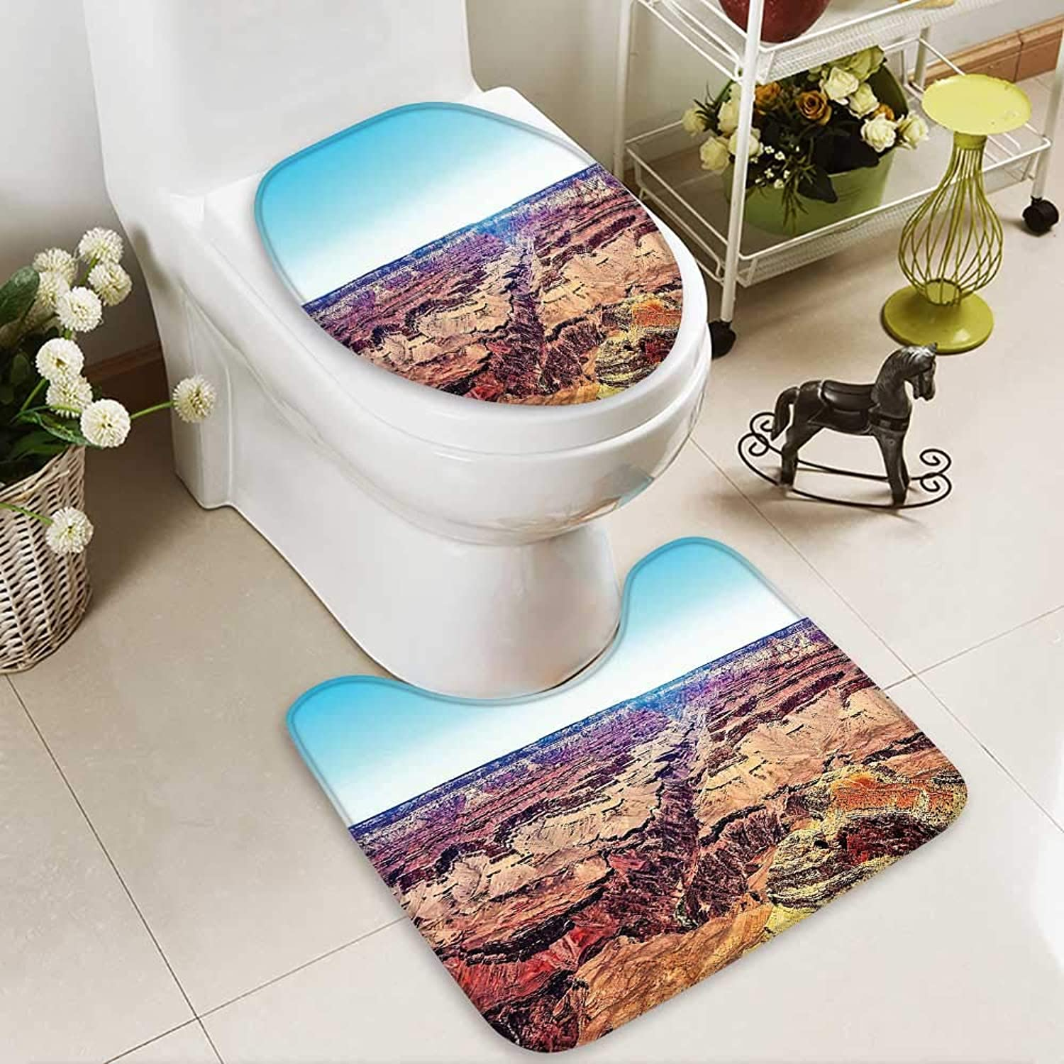 SOCOMIMI 2 Piece Toilet Cover Set Skyline Over Canyon in Summer North Western Heritage Earth Featured Image Tan 3D Digital Printing Rug Set