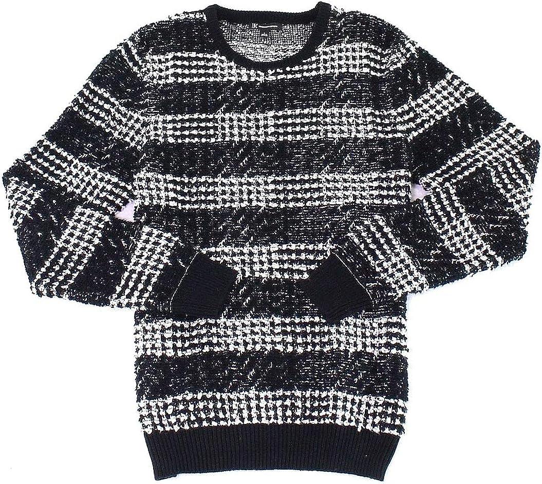 INC Mens Knit Striped Pullover Sweater Black XL