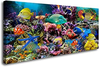 D72650 Great Barrier Reef Colorful Coral and Fish Large Wall Decor Canvas Wall Art Artwork Painting Ocean Decor for Living Room Bedroom Bathroom Decoration